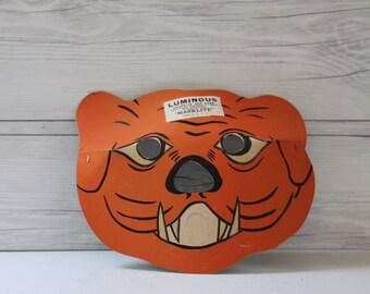 """Vintage Paper """"Masklite"""" Tiger Mask, Vintage Halloween Mask"""