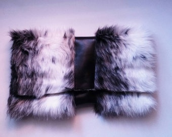 Black and white faux fur clutch