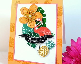 Retro Tropical Handmade Thank You Greeting Card. Envelope is included. Heat embossed flamingo, pineapple motifs.
