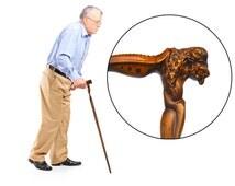 WALKING STICK CANE hiking bison or buffalo wooden handmade art gift carve wood