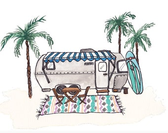 Cali Airstream Trailer Art Print 10x8 w/ Palm Trees and Surfboards