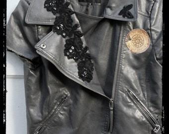 Hand Embellished Vegan-Biker Jacket