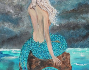 Giclee PRINT 11x14 Mermaid Lady Broken Portrait Acrylic Painting Seascape Figure Solitude Woman Ocean Sea Art Abstract Contemporary Mystical