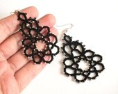 Black Tatted Earrings with Metal Beads, Drop Tatted Lace Earrings, Black Flower Tatting Earrings, Lace Earrings with Silver Metal Beads.