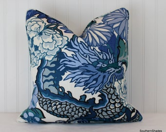 One or Both Sides - Chiang Mai Dragon China Blue by Schumacher Pillow Cover with Self Cording