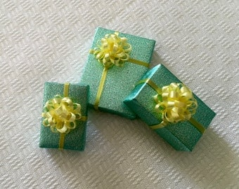 Three Little Miniature Gifts with Fluffy Yellow Bows