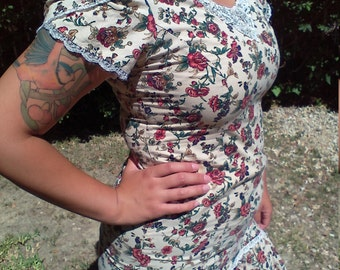 Country dress, sweet cotton dress, small,boho dress,lace trims