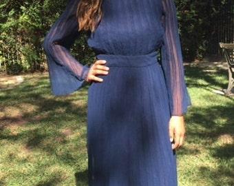 Maxi dress, blue formal dress,XS, small, 1960s