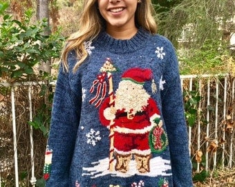 Ugly Christmas sweater, pull over sweater, large,Santa Claus, embroidered sweater, blue, red, green, tan