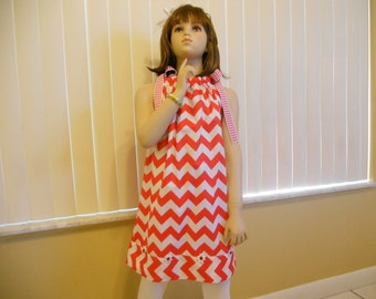 Red chevron pillow case dress in a size 6.