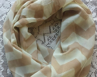 READY TO SHIP Ladies Double Infinity Lightweight Beige Chevron Scarf