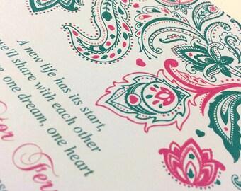 "Paisley Wedding Invitation with Envelope - Invitation Deposit - (Watermelon) ""Pretty Paisley"" ANY Color - Bollywood Invitation Response Card"