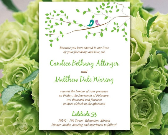 Bird Wedding Invitation: Love Bird Wedding Invitation Template DIY Wedding Invitation