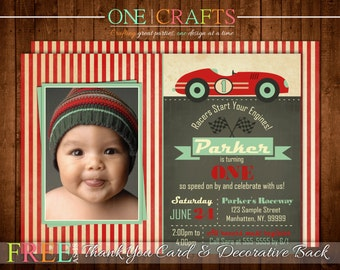 Race Car Invitation, Race Car Birthday, Striped, Chalkboard Vintage, Rustic, Racing, Turquoise, Flag Photo Party Invite +FREE Thank You Card