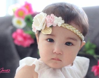 Pink Headband, Gold Headband, Pink and Gold Headband, Gold Braided Headband, Boho Headband,  flower crown Headband, flower girl Headband