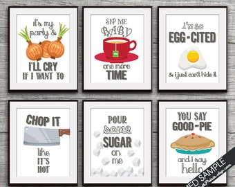 I'll Cry, Sip Baby, Egg-Cited, Chop it, Sugar, Good-Pie (Funny Kitchen Song Series) Set 6 Art Prints (Featured in Colors 30) Kitchen Art