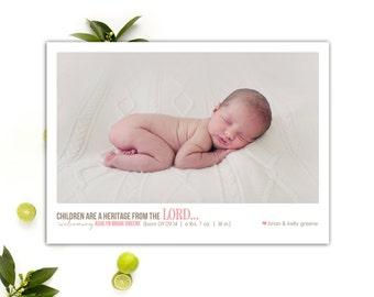 Scripture Birth Announcement // Baby Boy or Baby Girl Announcement // 5x7 Printable Photo Birth Announcement // The Ashlyn