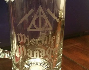 Etched Harry Potter Beer Mug - Mischief Managed