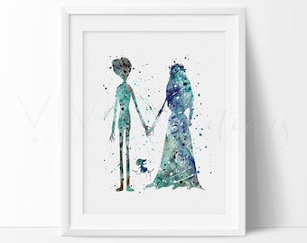 Tim Burton's Corpse Bride Print, Emily and Victor Watercolor Art Print, Wedding Gift, Birthday Gift, Bedroom Wall Decor, Not Framed, No. 1-9