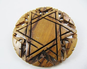 Vintage Carved Olive-Tree Wood Israeli Star of David Brooch Pin, MAGEN DAVID Israeliana Judaica