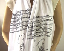MUSIC Infinity Scarf Christmas Song Jingle Bells Scarf Santa Claus Music Notes Scarf Christmas Lovers Gift