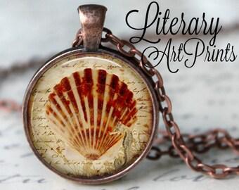 SHELL Necklace Pendant Vintage Sea Shell Ocean Glass Pendant Handmade Marine Beach Jewerly Nautical Pendant (101)