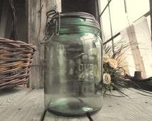 French Mason Jar - Durfor - Vintage Green Glass Jar - 1 Liter - Kitchen Storage - Kitchen Glass Container - French Kitchen - Home Decor