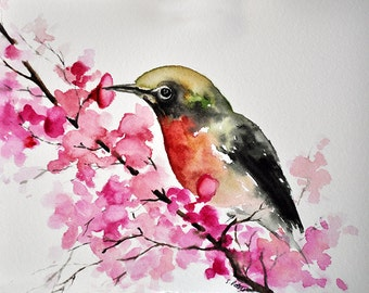 ORIGINAL Watercolor Painting, Bird and Pink Flowers Watercolor Illustration 6x8 inch