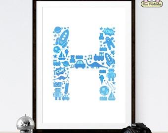 Monogram Art Print - Blue letter H