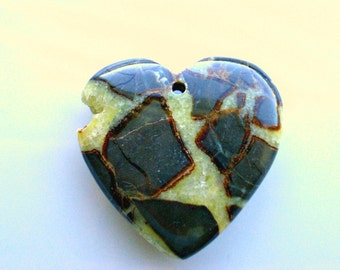 Septarian Druzy Heart Pendant  -One of a Kind