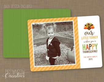 PRINTABLE Thanksgiving Photo Card // Little Turkey