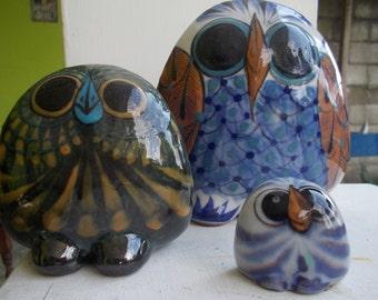 Handmade Ceramic owls Set of 3. Handmade in Guatemala.