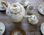 "custom order 6 setting tea set ""Chitins Gloss"" vintage porcelain handpainted with ants"