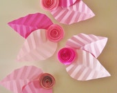 4 Mini Spiral Roses each with 2 Paper Leaves attached - paper flowers, spiral roses, paper roses, baby nursery decor, paper flower wall