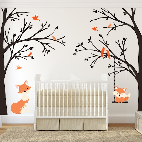 Full Color WINDOW Flower Wall Decor Decal Sticker Removable tree branches birds