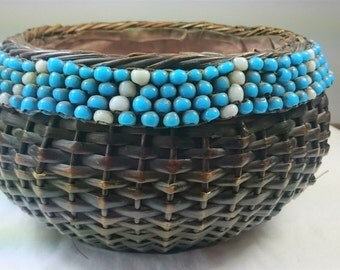Antique Wicker and Glass Bead Basket