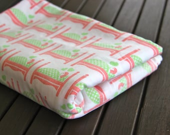 1970's Vintage Pink and  Green Bed Sheet