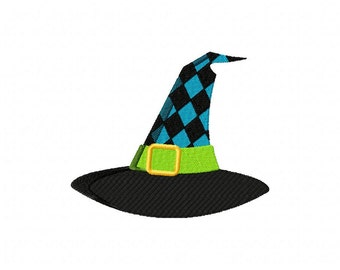 Black And Blue Witch Hat Machine Embroidery Design