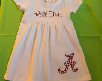 Roll Tide, toddler dress, white knit peasant dress, choice of long sleeve or short sleeve