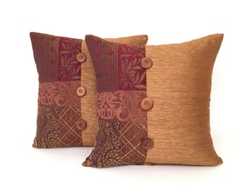Square Toss Pillow, Shades of Rust and Button Detail, Home Accent for Sofa P-2-148
