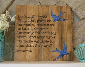 Bible Verse Wall Art Matt. 6:26