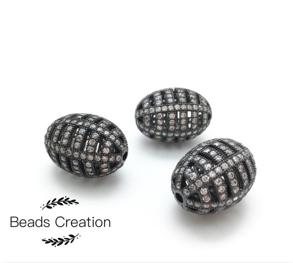 Cz Diamond Beads: 24K Gold Plated Micro Pave Filigree Oval Football Beads