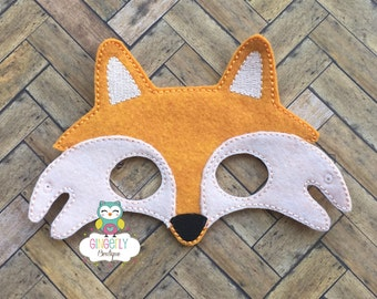 Fox Mask, Kids Dress Up Mask, Fox Costume Mask, Wool Blend Mask, Felt Fox Mask, Jungle Party Favor, Monkey Mask