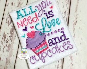 All you Need is Love and Cupcakes Shirt or Bodysuit, Girl Valentine Shirt, Valentines Day, Valentine Shirt, Love Shirt, All you need is Love