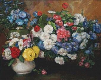 Three Vases of Flowers PDF Cross Stitch Pattern