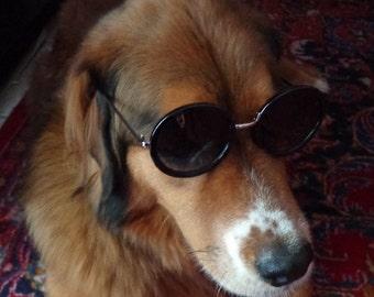 Ladies Vintage Black Round Sunglasses