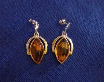 Sterling Silver Faux Amber Earrings, Dangling Stud Earrings,Two-Tone Amber Stud Earrings,Amber Earrings