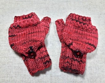 Convertible Fingerless Gloves for Babies, Dark Red, Merino Wool, Mittens with Flap, Gift for Babies