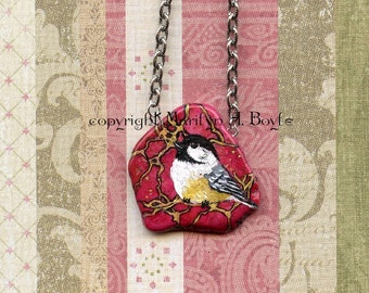 HAND PAINTED PENDANT; Stone, necklace, wearable art, chickadee, deep rose color, feather, one of a kind, original art, for her