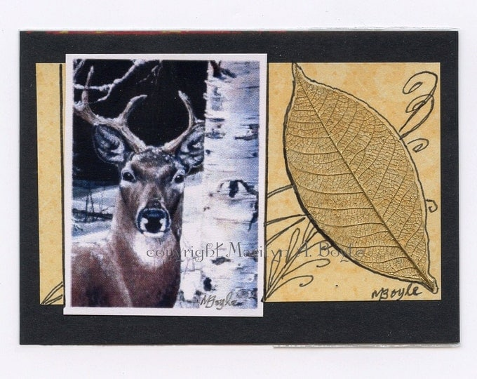 ACEO CARD - PRINT; artist's trading card, one of a kind, embellished, collage, leaf, for collector